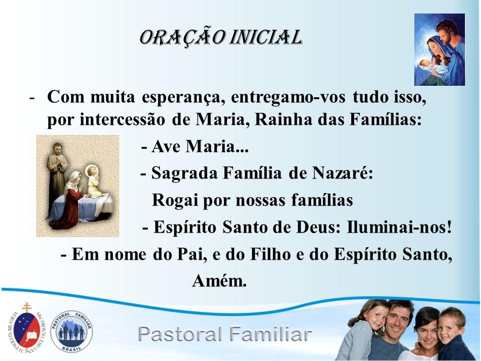 Oração Inicial -Com muita esperança, entregamo-vos tudo isso, por intercessão de Maria, Rainha das Famílias: - Ave Maria... - Sagrada Família de Nazar