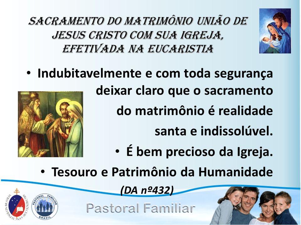 Sacramento do Matrimônio União de Jesus Cristo com sua Igreja, efetivada na Eucaristia Indubitavelmente e com toda segurança deixar claro que o sacram