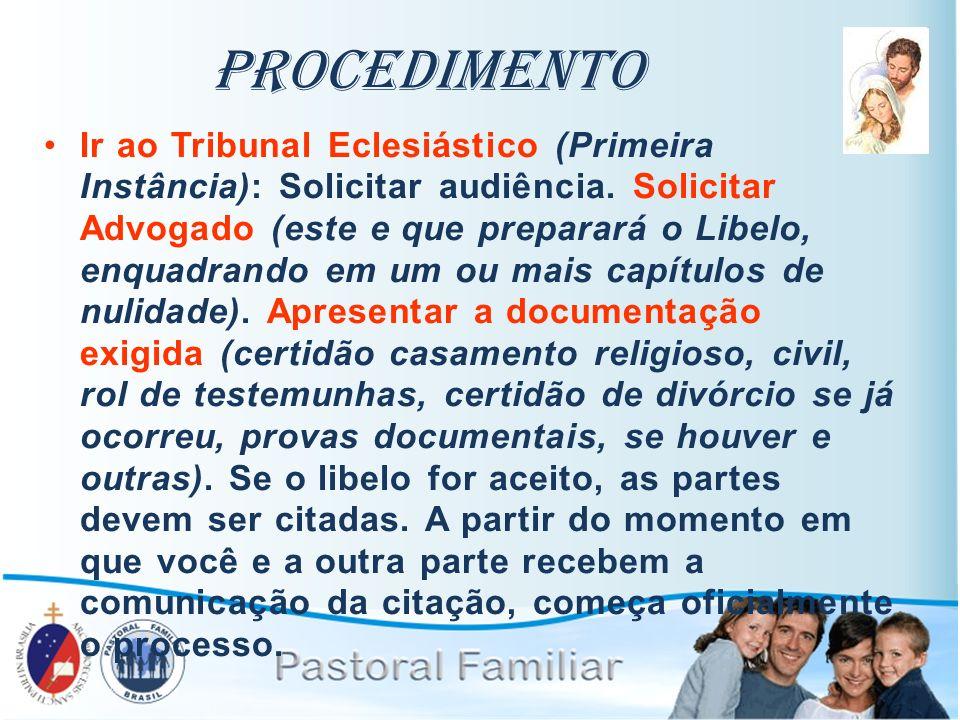 Procedimento Ir ao Tribunal Eclesiástico (Primeira Instância): Solicitar audiência. Solicitar Advogado (este e que preparará o Libelo, enquadrando em