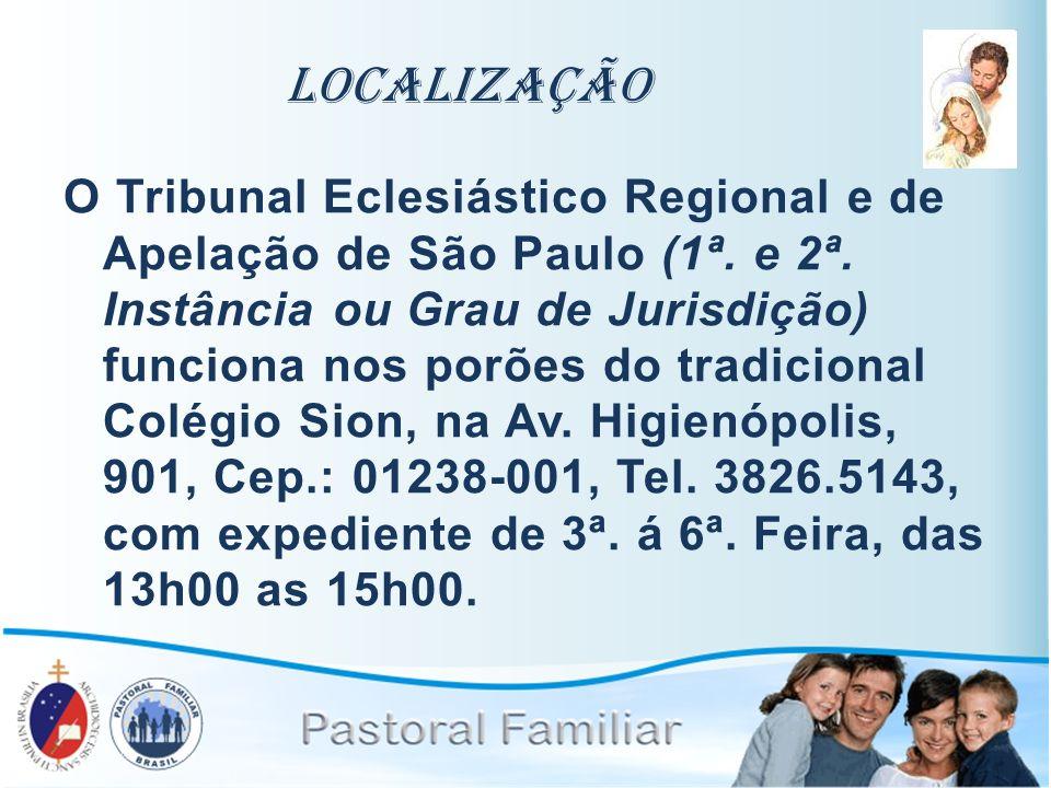 Localização O Tribunal Eclesiástico Regional e de Apelação de São Paulo (1ª. e 2ª. Instância ou Grau de Jurisdição) funciona nos porões do tradicional