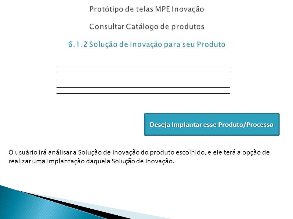 Deseja Implantar esse Produto/Processo O usuário irá análisar a Solução de Inovação do produto escolhido, e ele terá a opção de realizar uma Implantaç