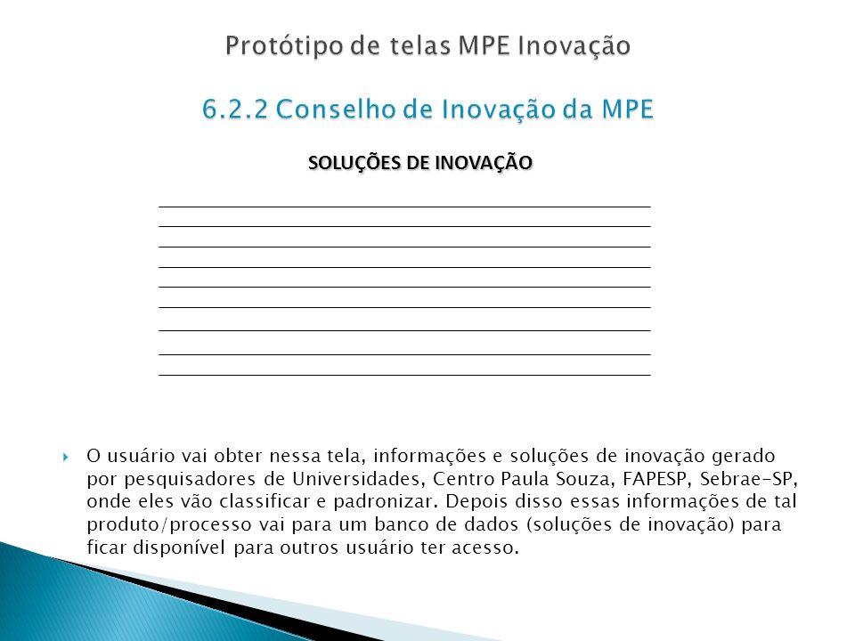 O usuário vai obter nessa tela, informações e soluções de inovação gerado por pesquisadores de Universidades, Centro Paula Souza, FAPESP, Sebrae-SP, o