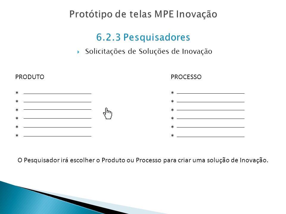 Solicitações de Soluções de Inovação PRODUTO * PROCESSO * O Pesquisador irá escolher o Produto ou Processo para criar uma solução de Inovação.