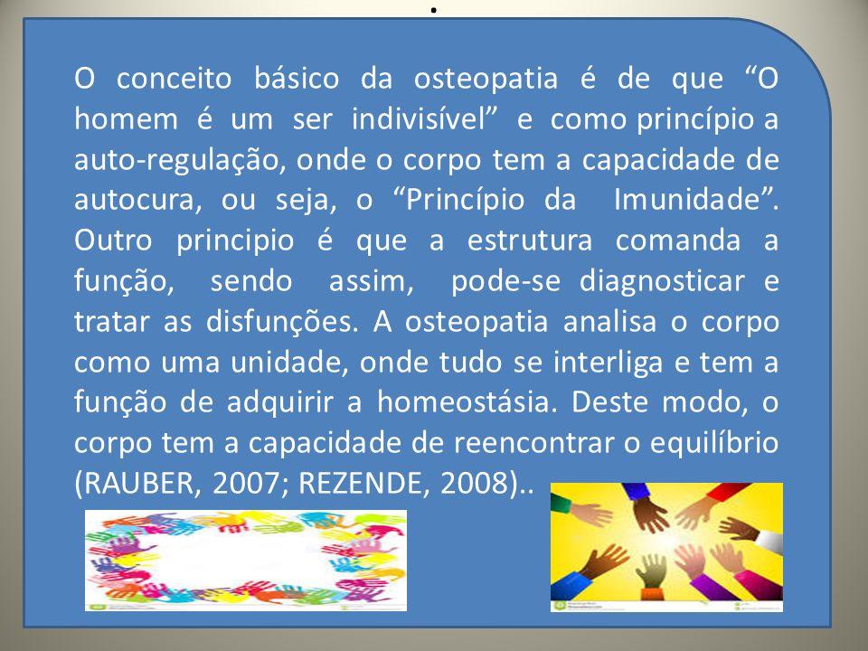 .. O conceito básico da osteopatia é de que O homem é um ser indivisível e como princípio a auto-regulação, onde o corpo tem a capacidade de autocura,