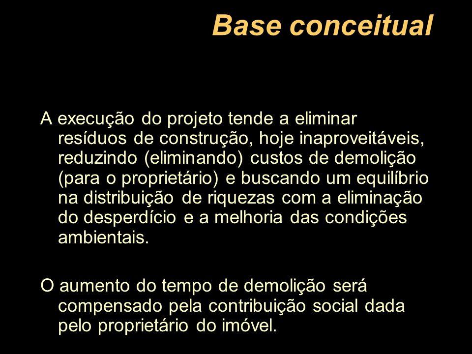 Base conceitual A execução do projeto tende a eliminar resíduos de construção, hoje inaproveitáveis, reduzindo (eliminando) custos de demolição (para