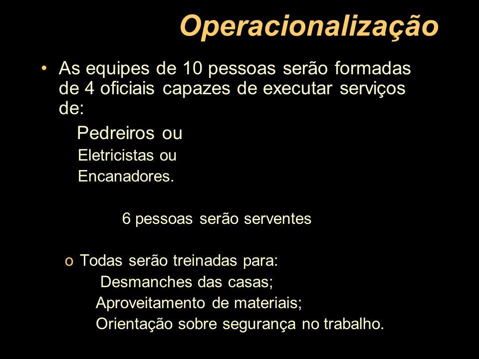 Operacionalização As equipes de 10 pessoas serão formadas de 4 oficiais capazes de executar serviços de: Pedreiros ou Eletricistas ou Encanadores. 6 p