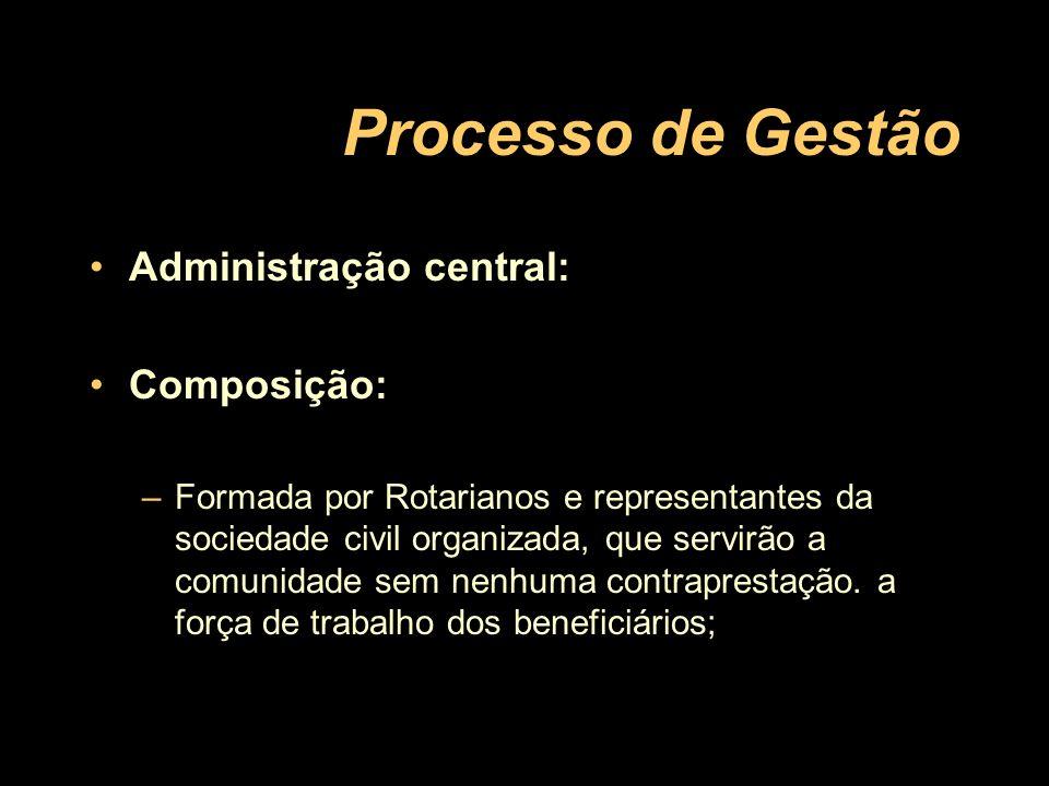 Administração central: Composição: –Formada por Rotarianos e representantes da sociedade civil organizada, que servirão a comunidade sem nenhuma contr