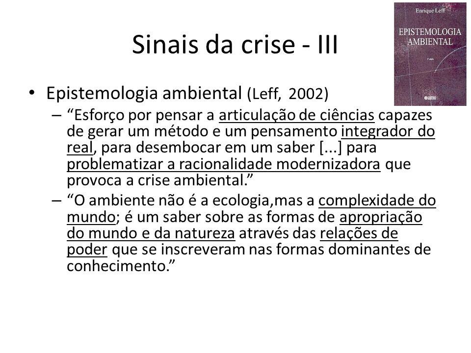 Sinais da crise - III Epistemologia ambiental (Leff, 2002) – Esforço por pensar a articulação de ciências capazes de gerar um método e um pensamento i