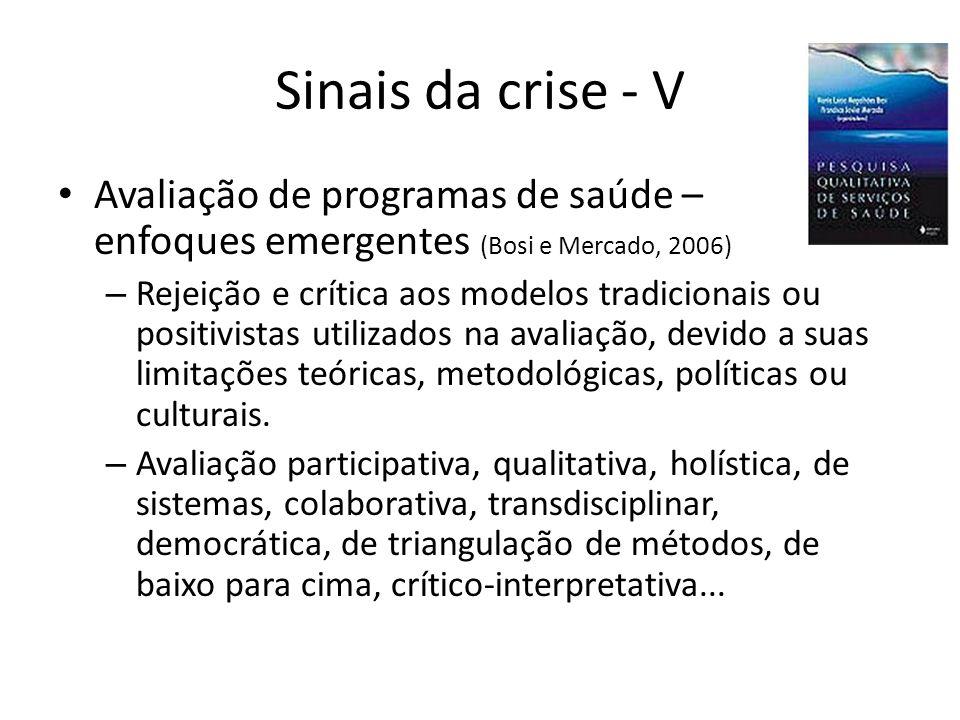 Sinais da crise - V Avaliação de programas de saúde – enfoques emergentes (Bosi e Mercado, 2006) – Rejeição e crítica aos modelos tradicionais ou posi