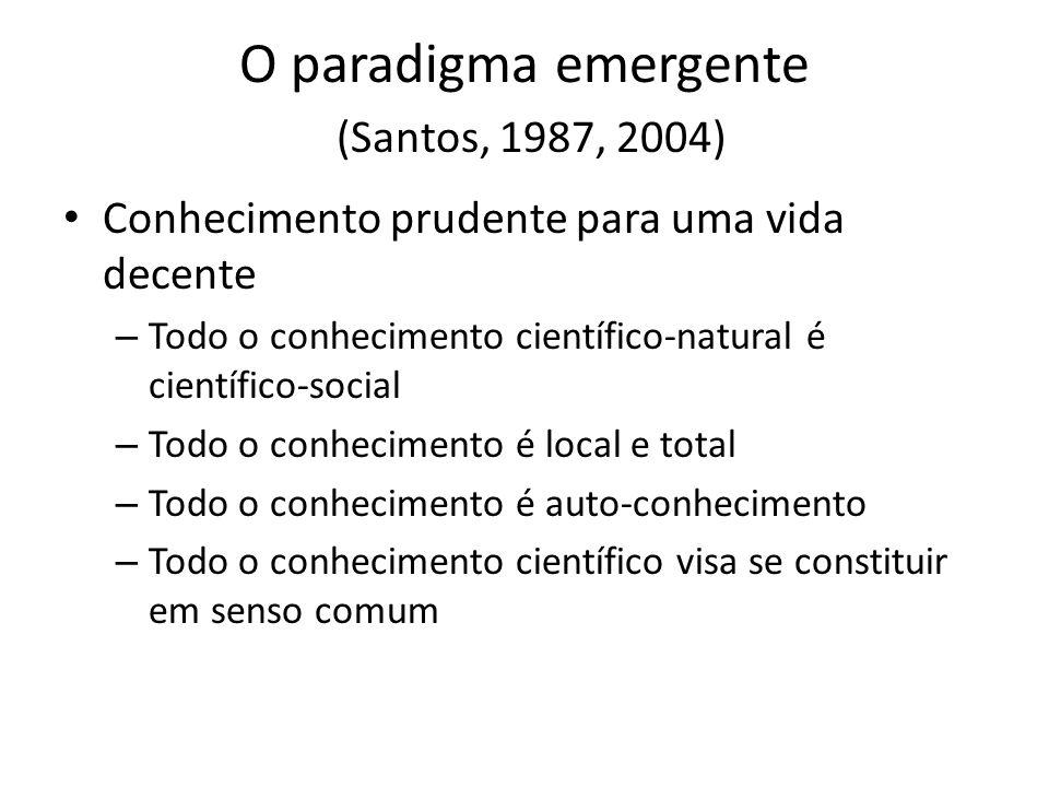 O paradigma emergente (Santos, 1987, 2004) Conhecimento prudente para uma vida decente – Todo o conhecimento científico-natural é científico-social –