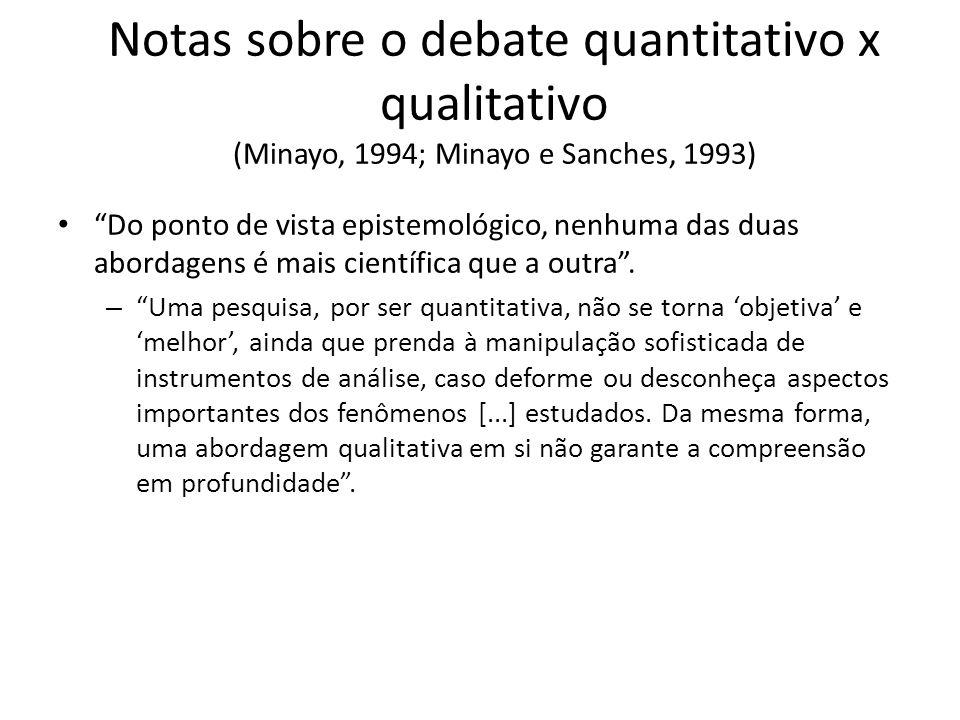 Notas sobre o debate quantitativo x qualitativo (Minayo, 1994; Minayo e Sanches, 1993) Do ponto de vista epistemológico, nenhuma das duas abordagens é