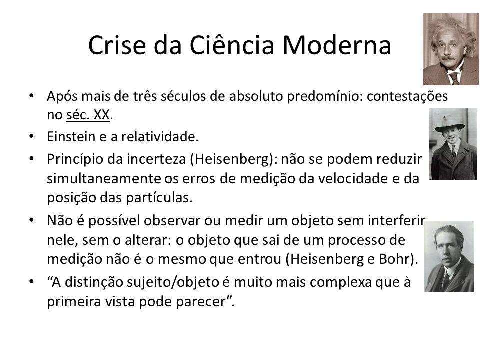 Crise da Ciência Moderna Após mais de três séculos de absoluto predomínio: contestações no séc. XX. Einstein e a relatividade. Princípio da incerteza