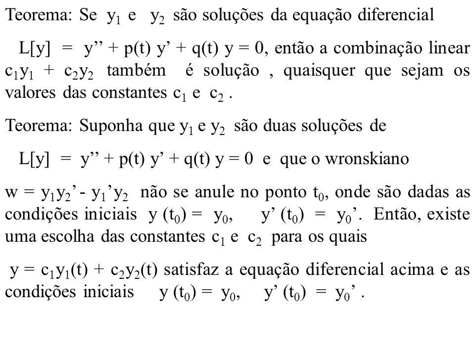 Teorema: Se y 1 e y 2 são soluções da equação diferencial L[y] = y + p(t) y + q(t) y = 0, então a combinação linear c 1 y 1 + c 2 y 2 também é solução