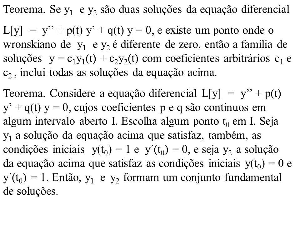 Teorema. Se y 1 e y 2 são duas soluções da equação diferencial L[y] = y + p(t) y + q(t) y = 0, e existe um ponto onde o wronskiano de y 1 e y 2 é dife