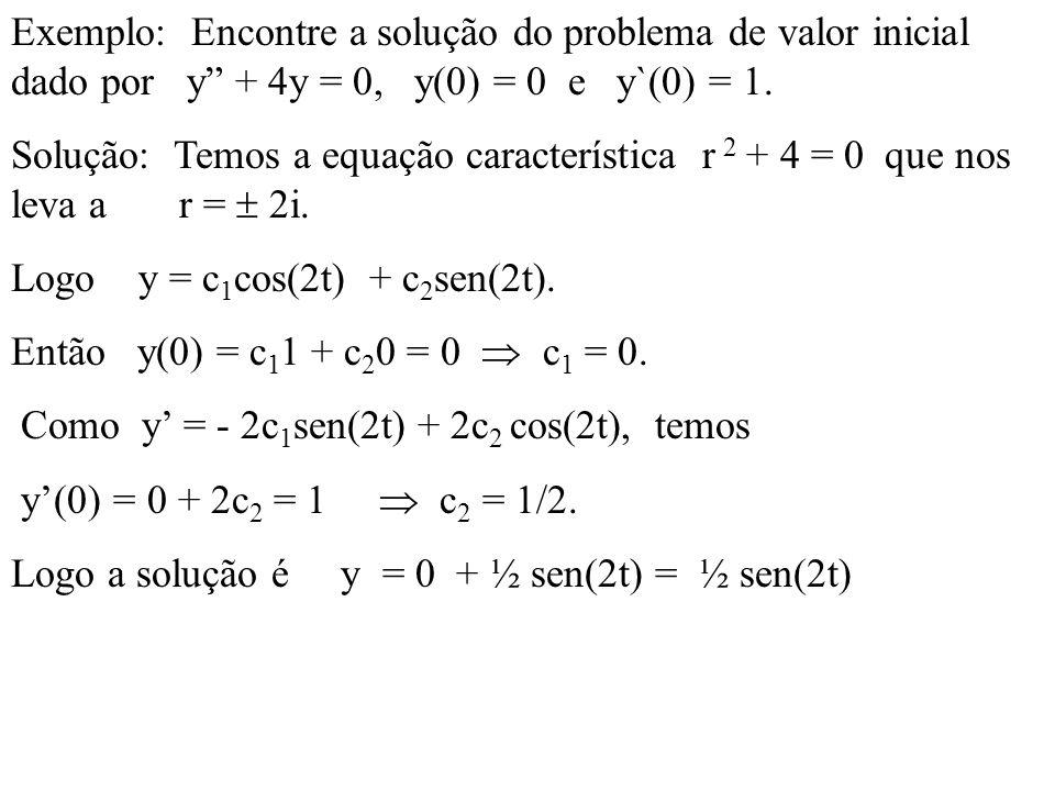 Exemplo: Encontre a solução do problema de valor inicial dado por y + 4y = 0, y(0) = 0 e y`(0) = 1. Solução: Temos a equação característica r 2 + 4 =