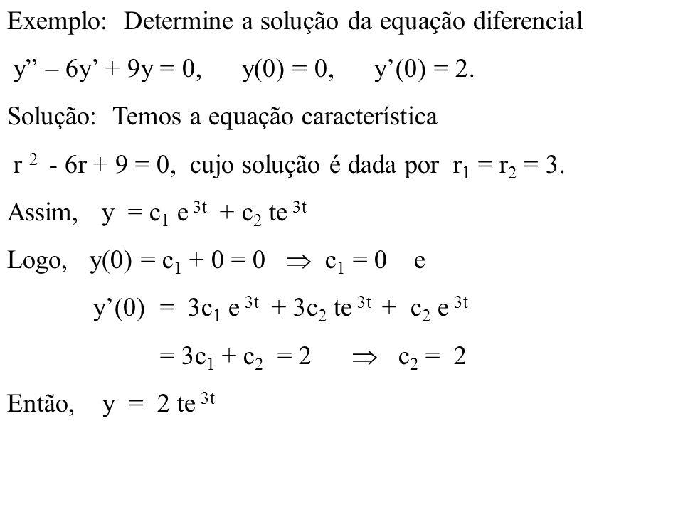 Exemplo: Determine a solução da equação diferencial y – 6y + 9y = 0, y(0) = 0, y(0) = 2. Solução: Temos a equação característica r 2 - 6r + 9 = 0, cuj