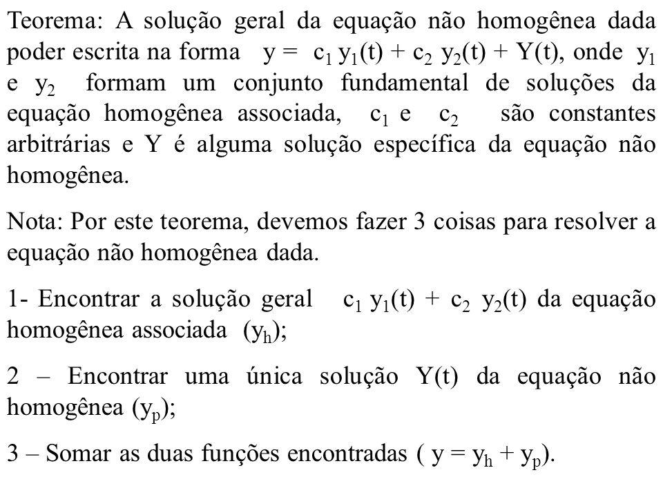 Teorema: A solução geral da equação não homogênea dada poder escrita na forma y = c 1 y 1 (t) + c 2 y 2 (t) + Y(t), onde y 1 e y 2 formam um conjunto