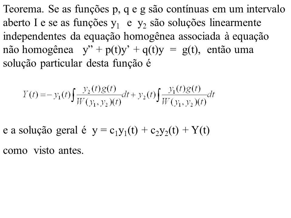Teorema. Se as funções p, q e g são contínuas em um intervalo aberto I e se as funções y 1 e y 2 são soluções linearmente independentes da equação hom