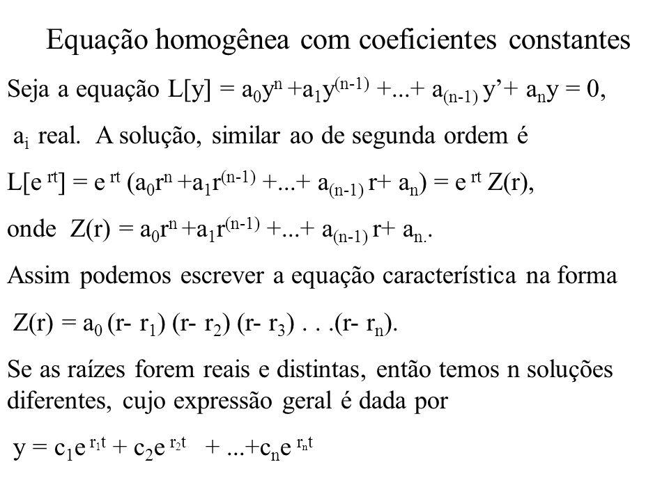 Equação homogênea com coeficientes constantes Seja a equação L[y] = a 0 y n +a 1 y (n-1) +...+ a (n-1) y+ a n y = 0, a i real. A solução, similar ao d