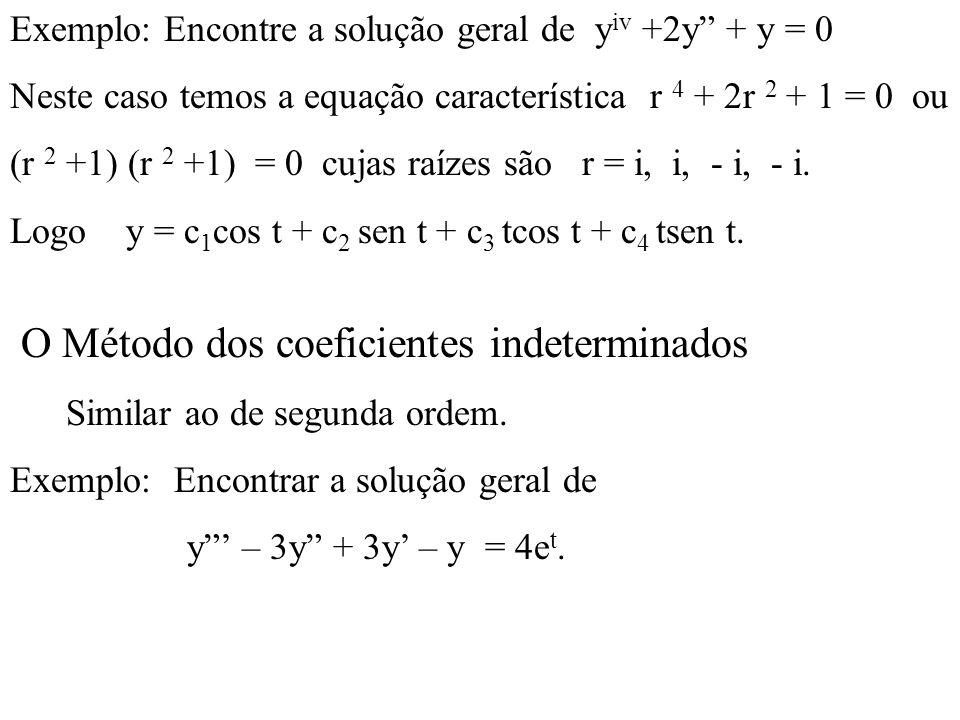 Exemplo: Encontre a solução geral de y iv +2y + y = 0 Neste caso temos a equação característica r 4 + 2r 2 + 1 = 0 ou (r 2 +1) (r 2 +1) = 0 cujas raíz