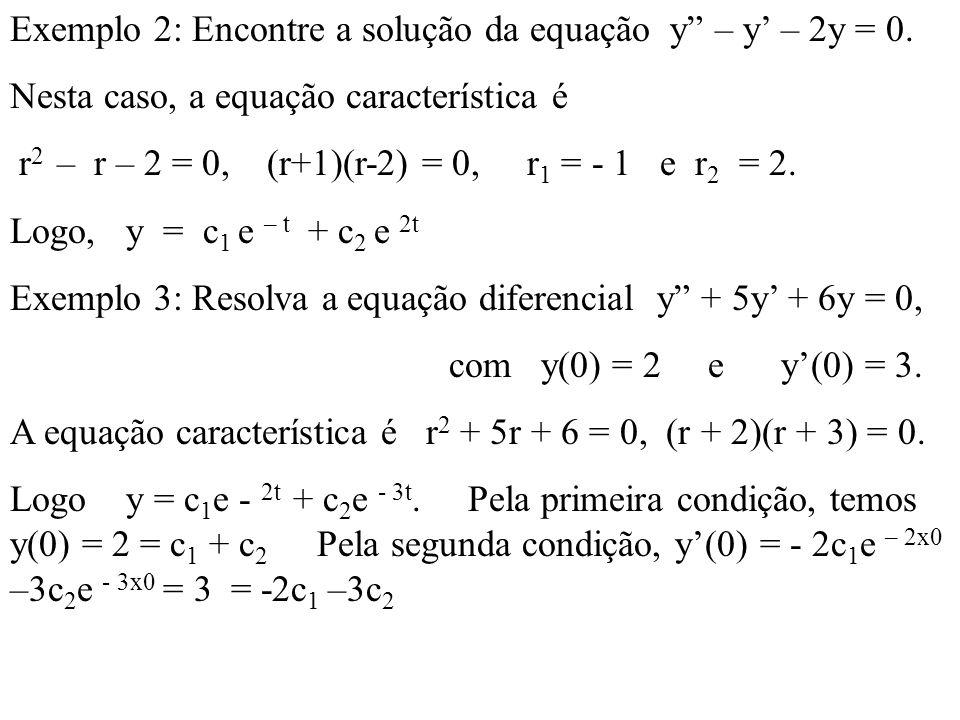Exemplo 2: Encontre a solução da equação y – y – 2y = 0. Nesta caso, a equação característica é r 2 – r – 2 = 0, (r+1)(r-2) = 0, r 1 = - 1 e r 2 = 2.