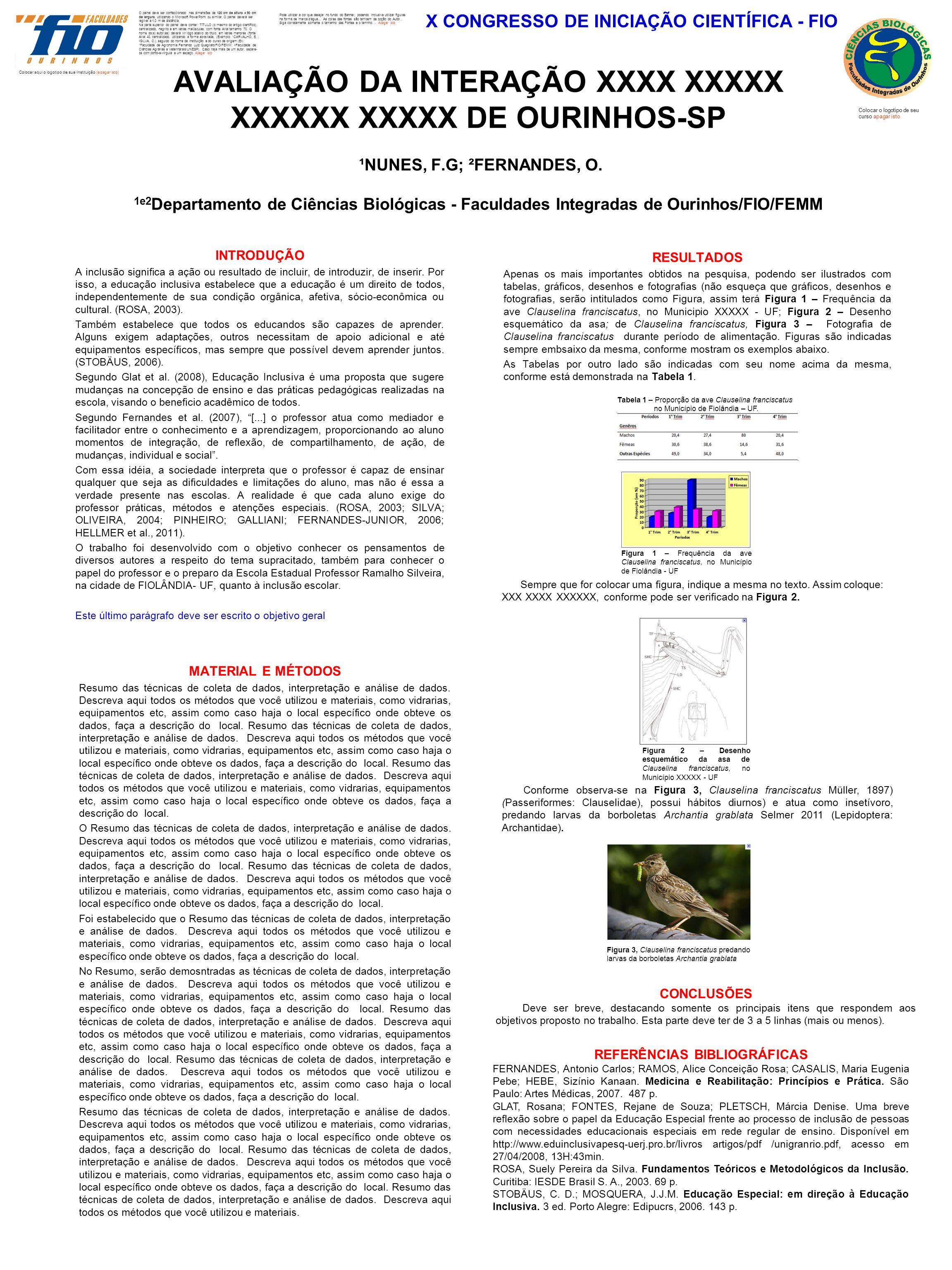 AVALIAÇÃO DA INTERAÇÃO XXXX XXXXX XXXXXX XXXXX DE OURINHOS-SP ¹NUNES, F.G; ²FERNANDES, O. 1e2 Departamento de Ciências Biológicas - Faculdades Integra