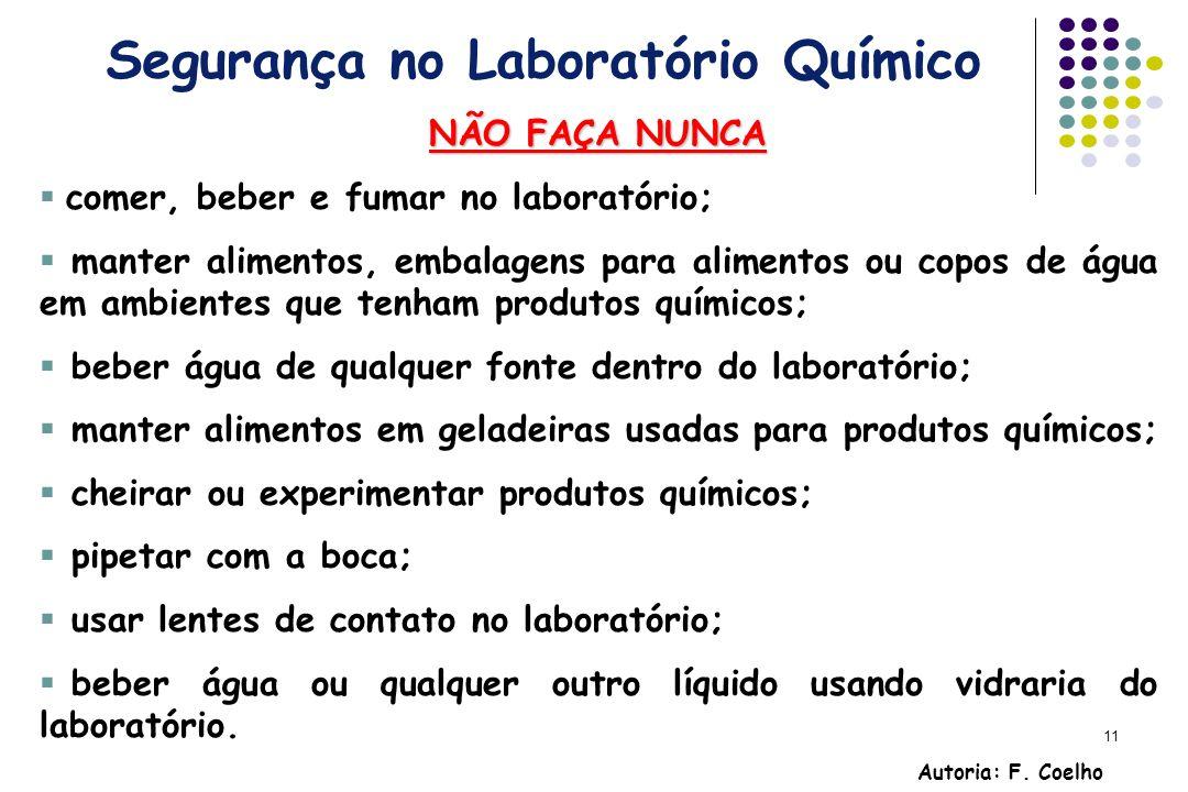11 Segurança no Laboratório Químico NÃO FAÇA NUNCA comer, beber e fumar no laboratório; manter alimentos, embalagens para alimentos ou copos de água e