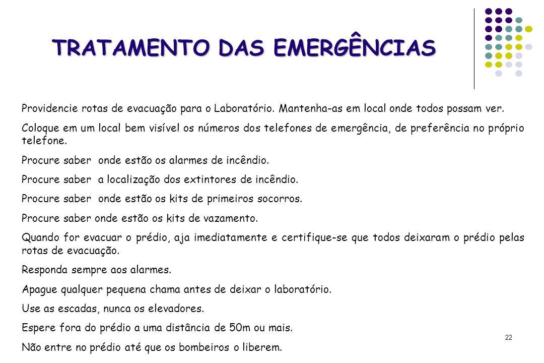 22 TRATAMENTO DAS EMERGÊNCIAS Providencie rotas de evacuação para o Laboratório. Mantenha-as em local onde todos possam ver. Coloque em um local bem v