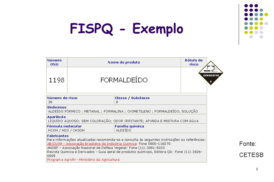 6 FISPQ - Exemplo Fonte: CETESB