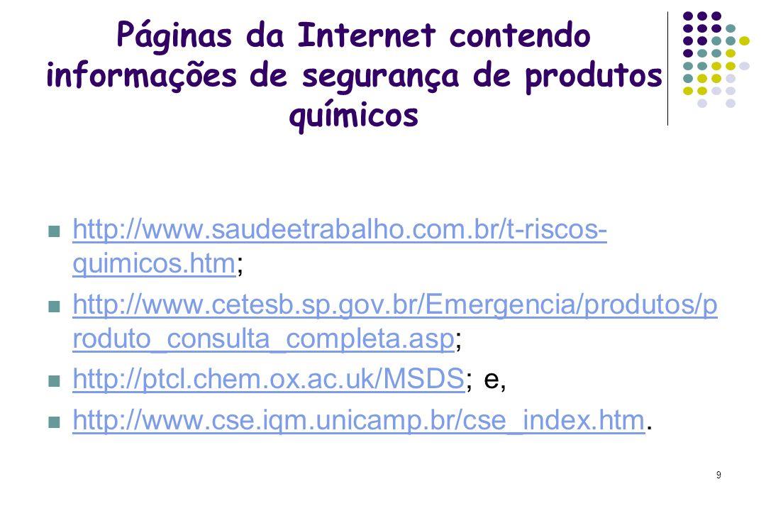 9 Páginas da Internet contendo informações de segurança de produtos químicos http://www.saudeetrabalho.com.br/t-riscos- quimicos.htm; http://www.saude