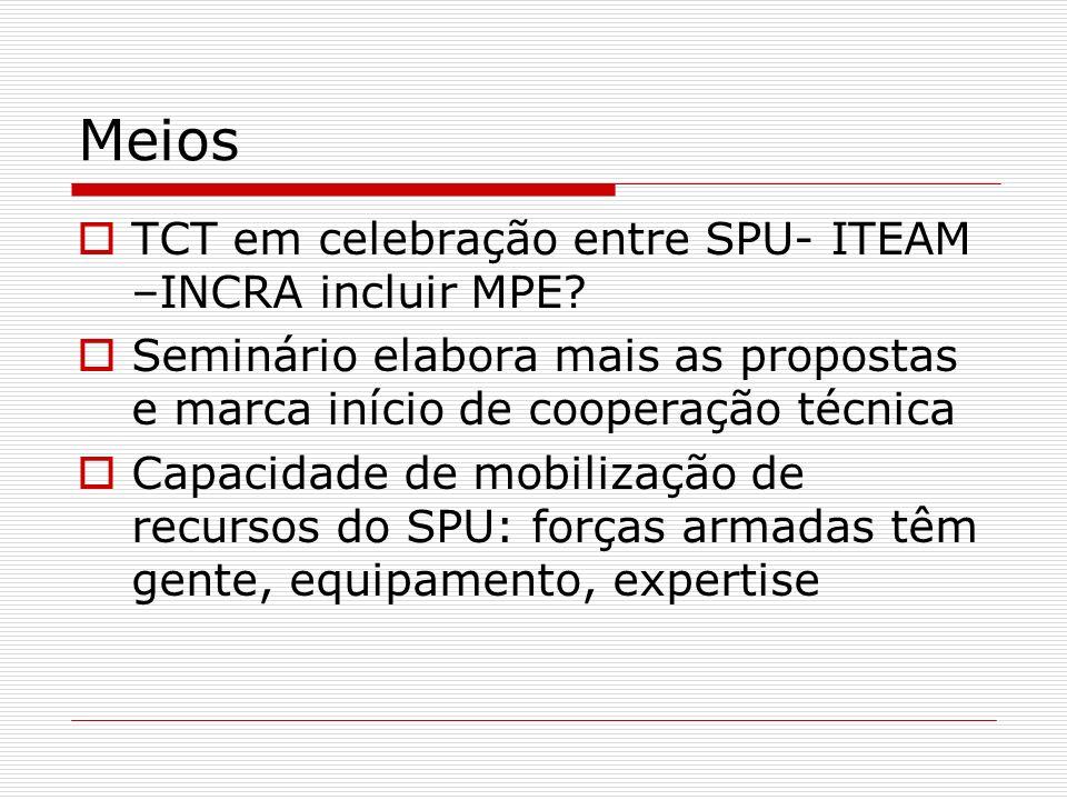 Meios TCT em celebração entre SPU- ITEAM –INCRA incluir MPE.