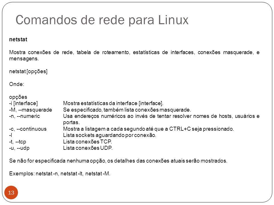 Comandos de rede para Linux netstat Mostra conexões de rede, tabela de roteamento, estatísticas de interfaces, conexões masquerade, e mensagens. netst