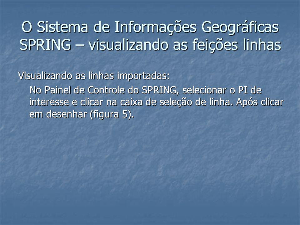 O Sistema de Informações Geográficas SPRING – visualizando as feições linhas Visualizando as linhas importadas: No Painel de Controle do SPRING, selec
