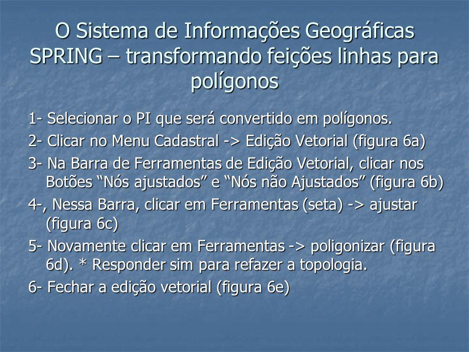 O Sistema de Informações Geográficas SPRING – transformando feições linhas para polígonos 1- Selecionar o PI que será convertido em polígonos. 2- Clic