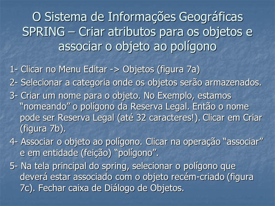O Sistema de Informações Geográficas SPRING – Criar atributos para os objetos e associar o objeto ao polígono 1- Clicar no Menu Editar -> Objetos (fig