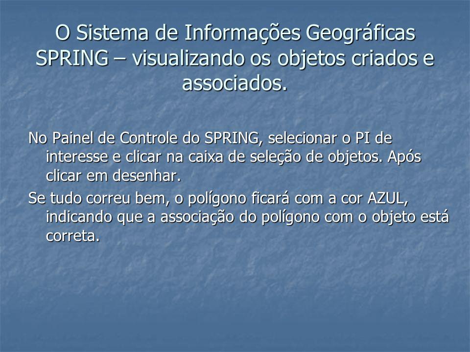 O Sistema de Informações Geográficas SPRING – visualizando os objetos criados e associados. No Painel de Controle do SPRING, selecionar o PI de intere