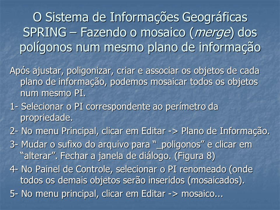 O Sistema de Informações Geográficas SPRING – Fazendo o mosaico (merge) dos polígonos num mesmo plano de informação Após ajustar, poligonizar, criar e