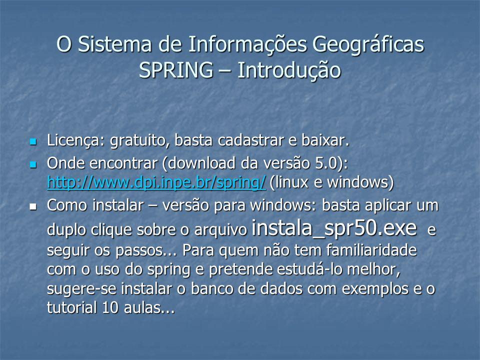 O Sistema de Informações Geográficas SPRING – Introdução Licença: gratuito, basta cadastrar e baixar. Licença: gratuito, basta cadastrar e baixar. Ond