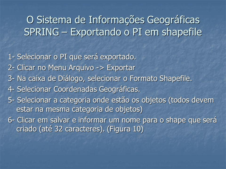 O Sistema de Informações Geográficas SPRING – Exportando o PI em shapefile 1- Selecionar o PI que será exportado. 2- Clicar no Menu Arquivo -> Exporta
