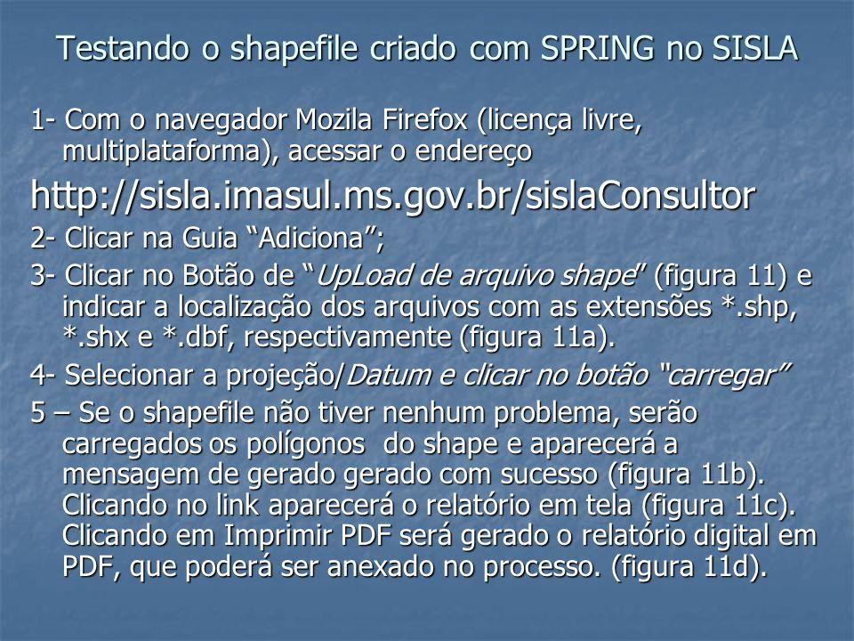 Testando o shapefile criado com SPRING no SISLA 1- Com o navegador Mozila Firefox (licença livre, multiplataforma), acessar o endereço http://sisla.im