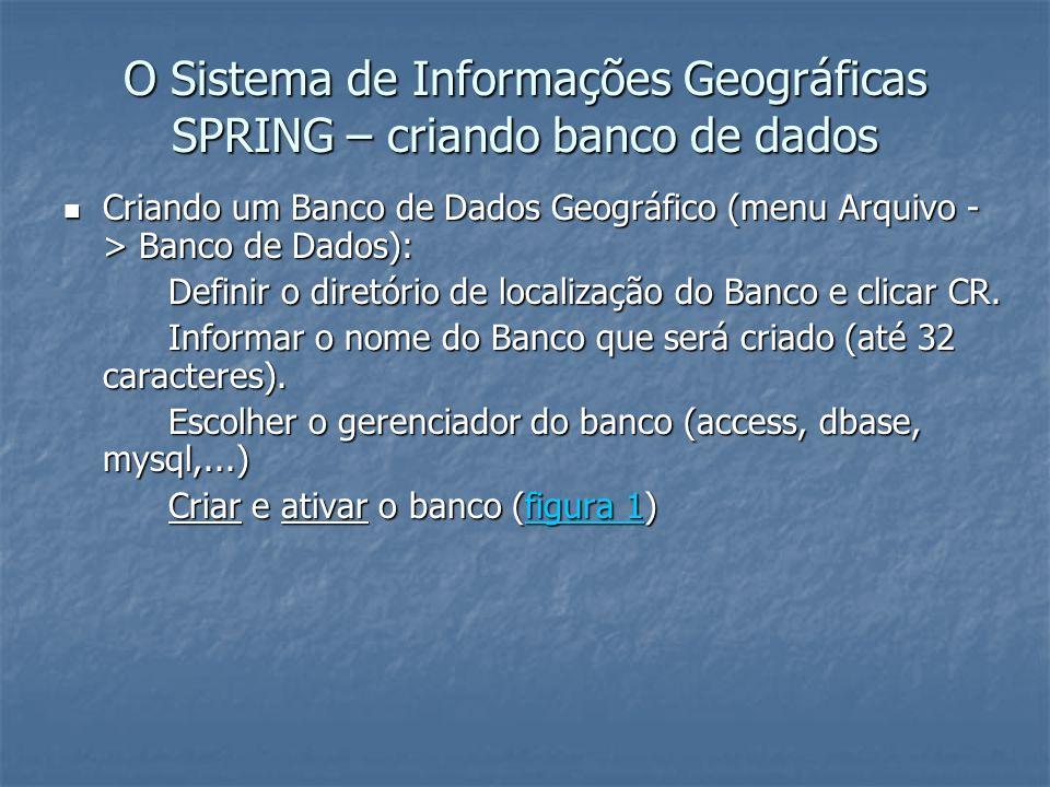 O Sistema de Informações Geográficas SPRING – criando banco de dados Criando um Banco de Dados Geográfico (menu Arquivo - > Banco de Dados): Criando u