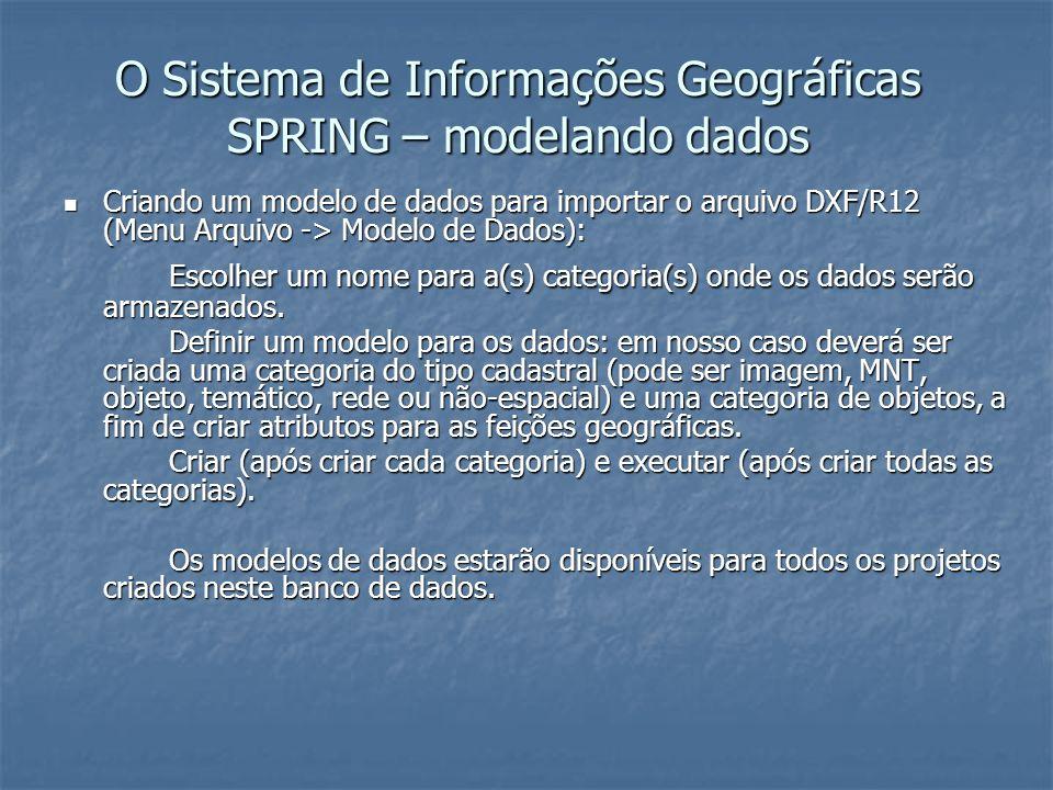 O Sistema de Informações Geográficas SPRING – modelando dados Criando um modelo de dados para importar o arquivo DXF/R12 (Menu Arquivo -> Modelo de Da