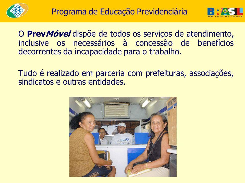 Programa de Educação Previdenciária O PrevMóvel dispõe de todos os serviços de atendimento, inclusive os necessários à concessão de benefícios decorre