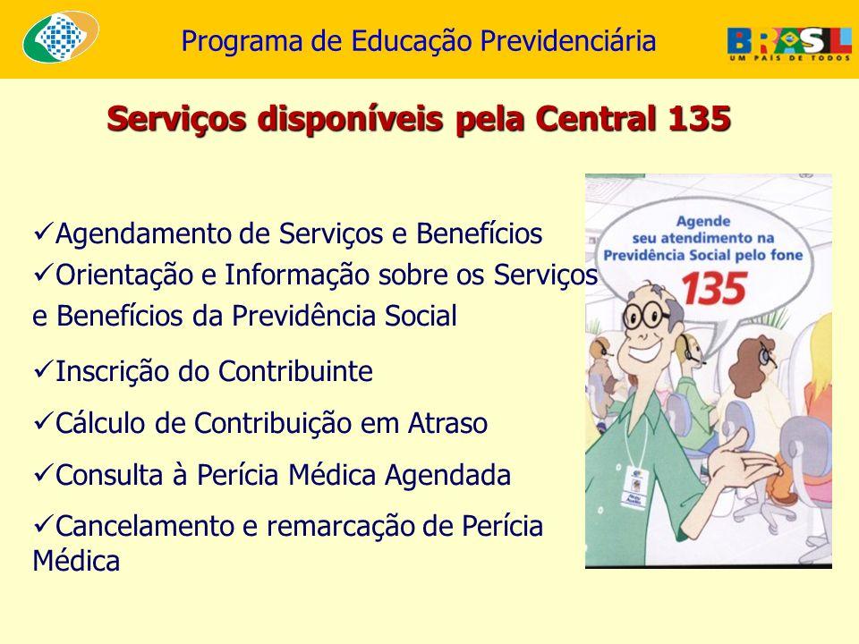 Programa de Educação Previdenciária Agendamento de Serviços e Benefícios Orientação e Informação sobre os Serviços e Benefícios da Previdência Social