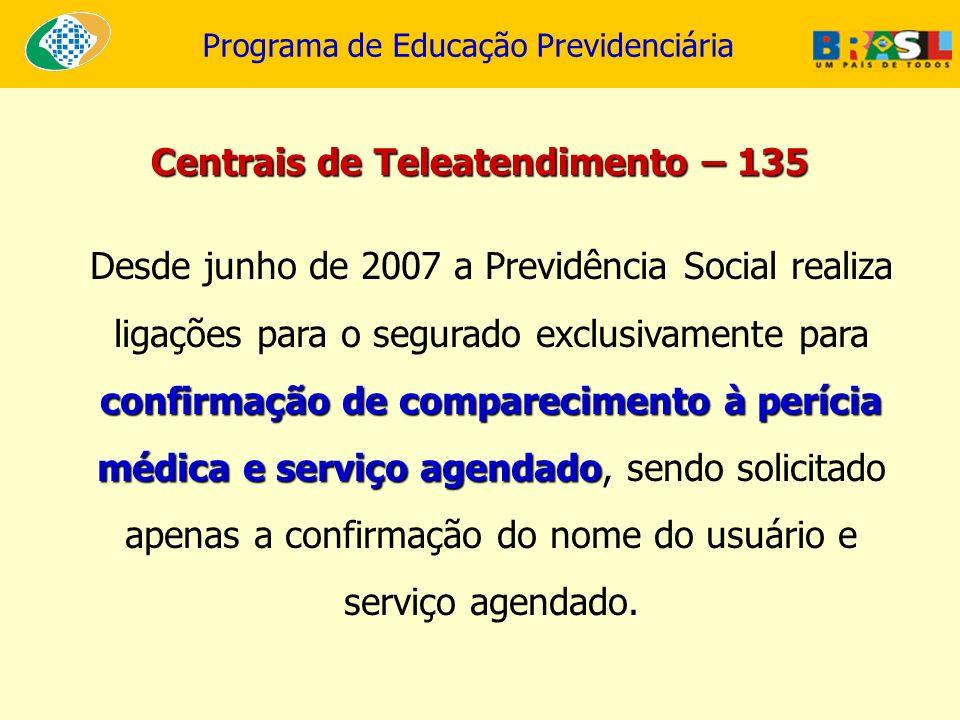 Programa de Educação Previdenciária confirmação de comparecimento à perícia médica e serviço agendado, Desde junho de 2007 a Previdência Social realiz