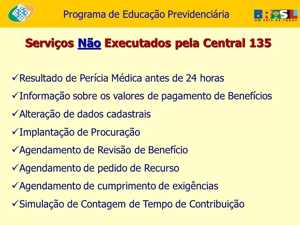 Programa de Educação Previdenciária Resultado de Perícia Médica antes de 24 horas Informação sobre os valores de pagamento de Benefícios Alteração de