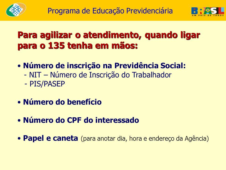 Programa de Educação Previdenciária Para agilizar o atendimento, quando ligar para o 135 tenha em mãos: Número de inscrição na Previdência Social: - N