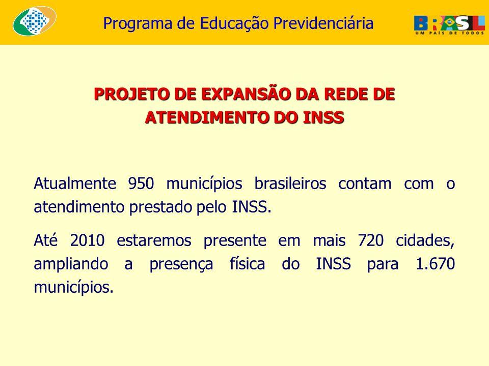 PROJETO DE EXPANSÃO DA REDE DE ATENDIMENTO DO INSS Atualmente 950 municípios brasileiros contam com o atendimento prestado pelo INSS. Até 2010 estarem