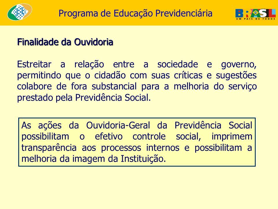 Programa de Educação Previdenciária Finalidade da Ouvidoria Estreitar a relação entre a sociedade e governo, permitindo que o cidadão com suas crítica