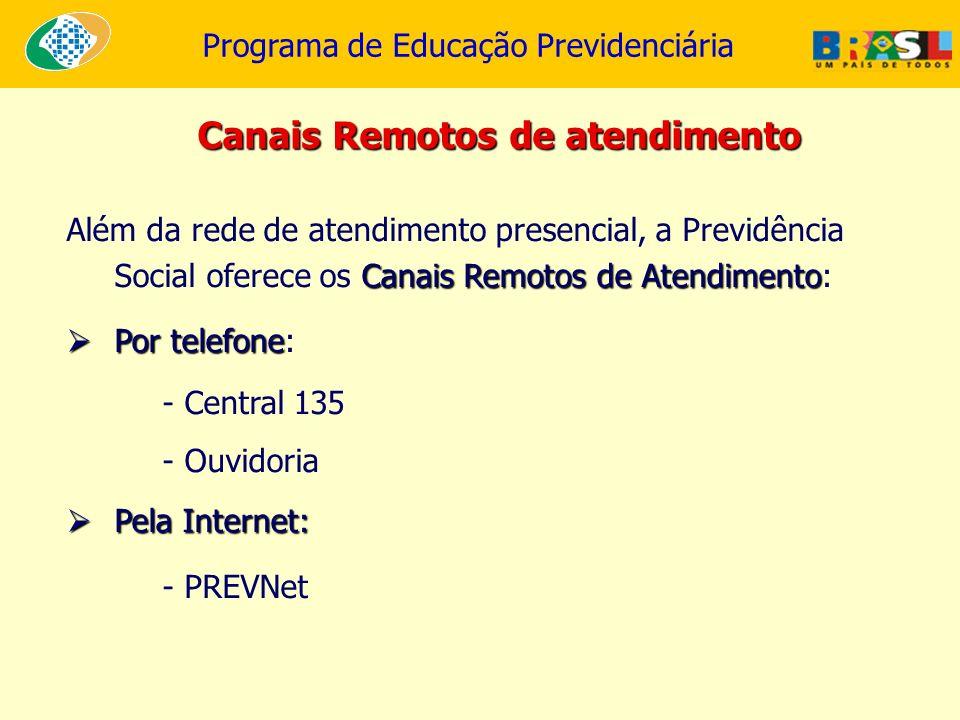 Programa de Educação Previdenciária Canais Remotos de atendimento Canais Remotos de Atendimento Além da rede de atendimento presencial, a Previdência